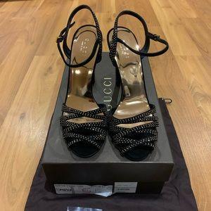 Gucci Black Scamoscia Fleur Stud Sandals